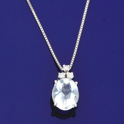 18ct White Gold Aquamarine and Diamond Necklace