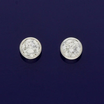 18ct White Gold 0.34ct Diamond Rub-over Stud Earrings