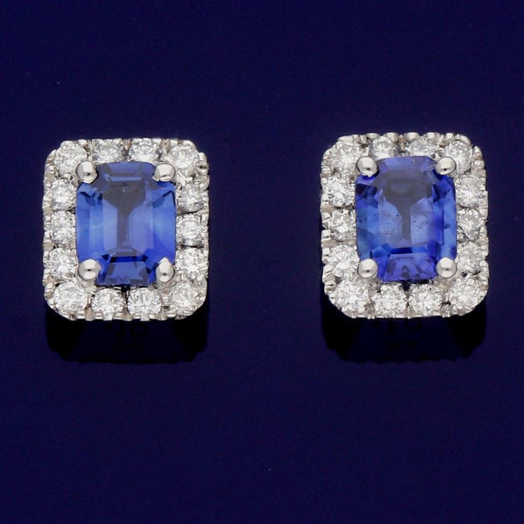 18ct White Gold Sapphire and Diamond Cluster Halo Stud Earrings
