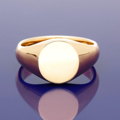 18ct Rose Gold Medium Oval 12 x 11mm Solid Signet Ring - Gold Arts Designed Signet Range