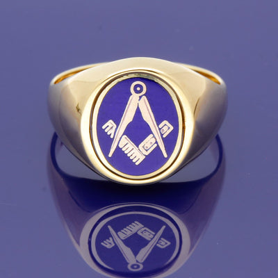 9ct Yellow Gold Oval 14 x 12mm Masonic Swivel Signet Ring
