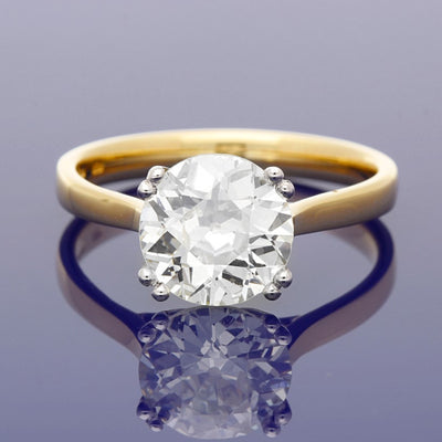 18ct Yellow Gold 2.25ct Antique Old Cut Diamond Solitaire Engagement Ring