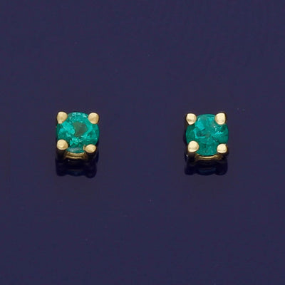 18ct Yellow Gold Emerald 2.5mm Stud Earrings