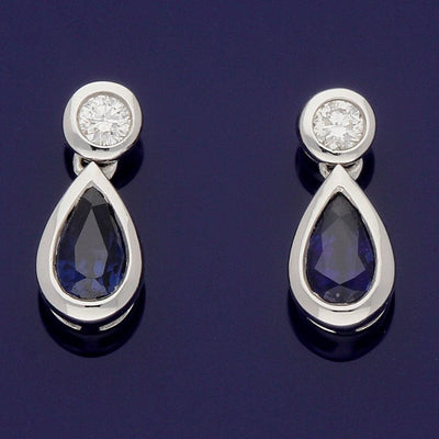 18ct White Gold Pear Shape Sapphire and Diamond Drop Earrings