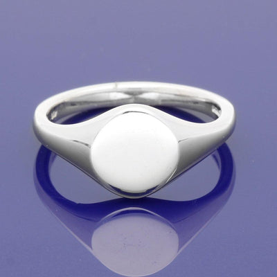 18ct White Gold Small Circular 9mm Solid Signet Ring - Gold Arts Designed Signet Range