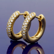 18ct Yellow Gold Pave Set Diamond Hoop Earrings 15mm