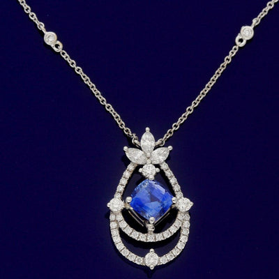 18ct White Gold Ornate Sapphire & Diamond Necklace
