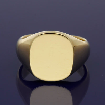 9ct Yellow Gold Large Cushion 15 x 14mm Solid Signet Ring - Gold Arts Designed Signet Range