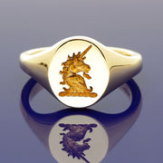 9ct Yellow Gold Intaglio Engraved Unicorn Oval Signet Ring 13 x 11mm - Gold Arts Designed Signet Range