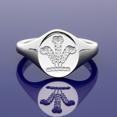 9ct White Gold Intaglio Engraved Prince of Wales Oval Signet Ring 13 x 11mm - Gold Arts Designed Signet Range