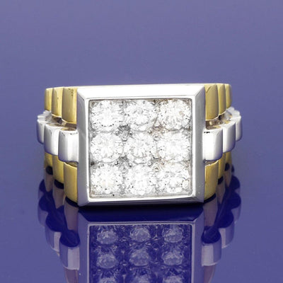 18ct Gold Gent's Bi-colour 2.20ct Diamond Set Rolex Style Ring