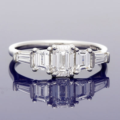 Platinum Certificated 0.91ct Emerald Cut Diamond Ring with Tapered Baguette Cut Diamond Set Shoulders