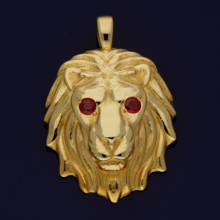 9ct Yellow Gold Lion's Head Pendant with Ruby