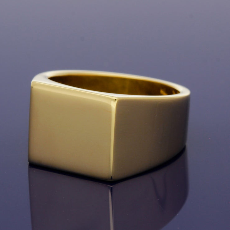 18ct Yellow Gold Large Square 13 x 14mm Solid Signet Ring - Gold Arts Designed Signet Range