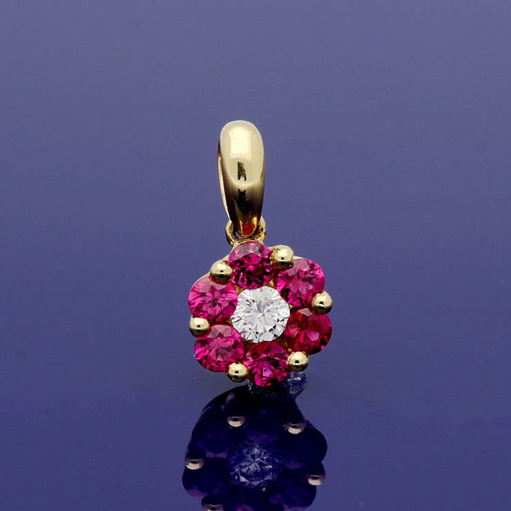 18ct Yellow Gold Ruby and Diamond Floral Cluster Pendant