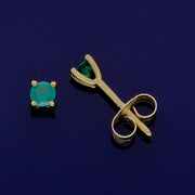 18ct Yellow Gold Emerald 3mm Stud Earrings