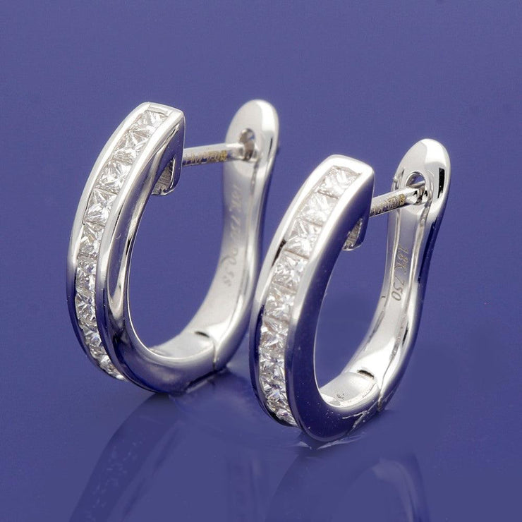18ct White Gold Channel Set 0.60ct Princess Cut Diamond Hoop Earrings 15mm