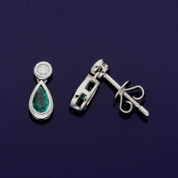 18ct White Gold Pear Shape Emerald and Diamond Drop Earrings