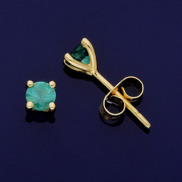18ct Yellow Gold Emerald 4mm Stud Earrings