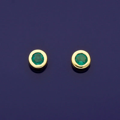 18ct Yellow Gold Emerald 4.5mm Rub-over Stud Earrings