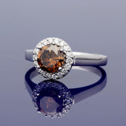 18ct White Gold Diamond Halo Ring with 1.21ct Certificated Chocolate Diamond