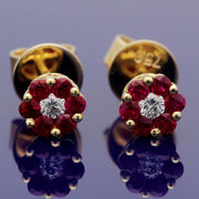 18ct Yellow Gold Ruby and Diamond Floral Cluster 6mm Stud Earrings