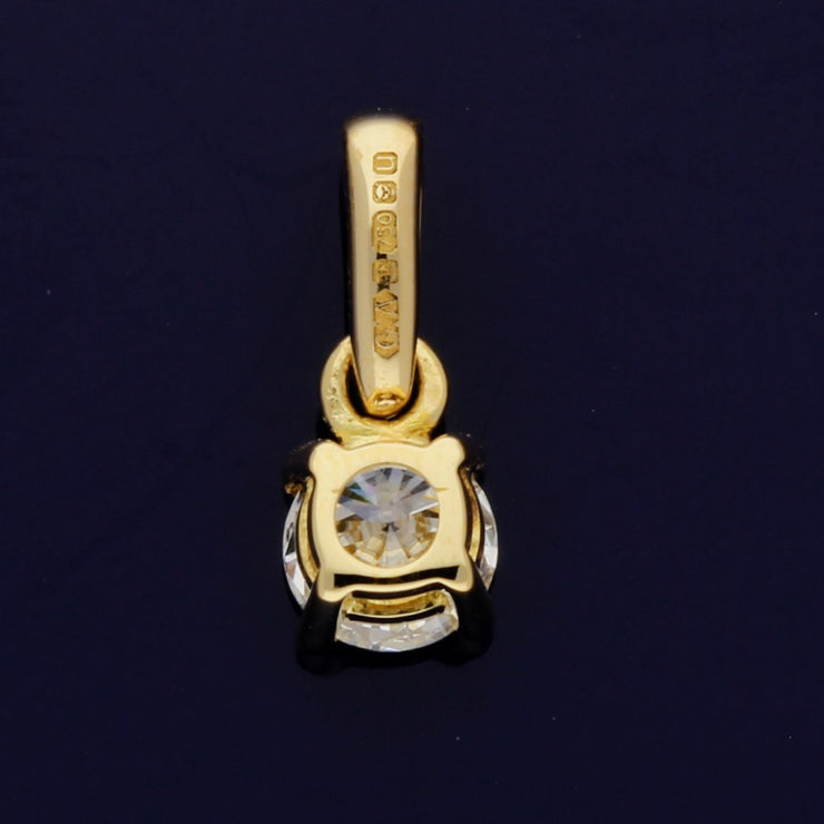 18ct Yellow Gold Certificated 0.31ct Diamond Pendant