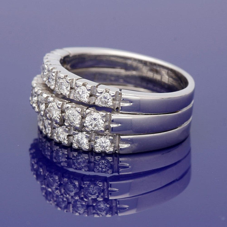18ct White Gold 3 Row Eternity Style Large Dress Ring