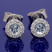 18ct White Gold Aquamarine and Diamond Halo Cluster 5mm Studs