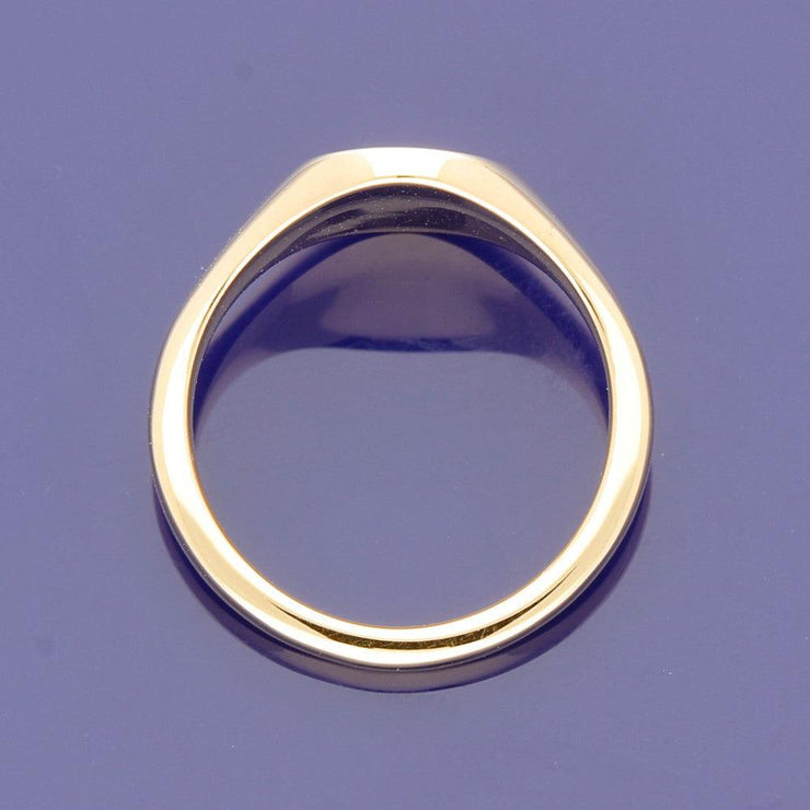 18ct Rose Gold Small Circular 9mm Solid Signet Ring - Gold Arts Designed Signet Range