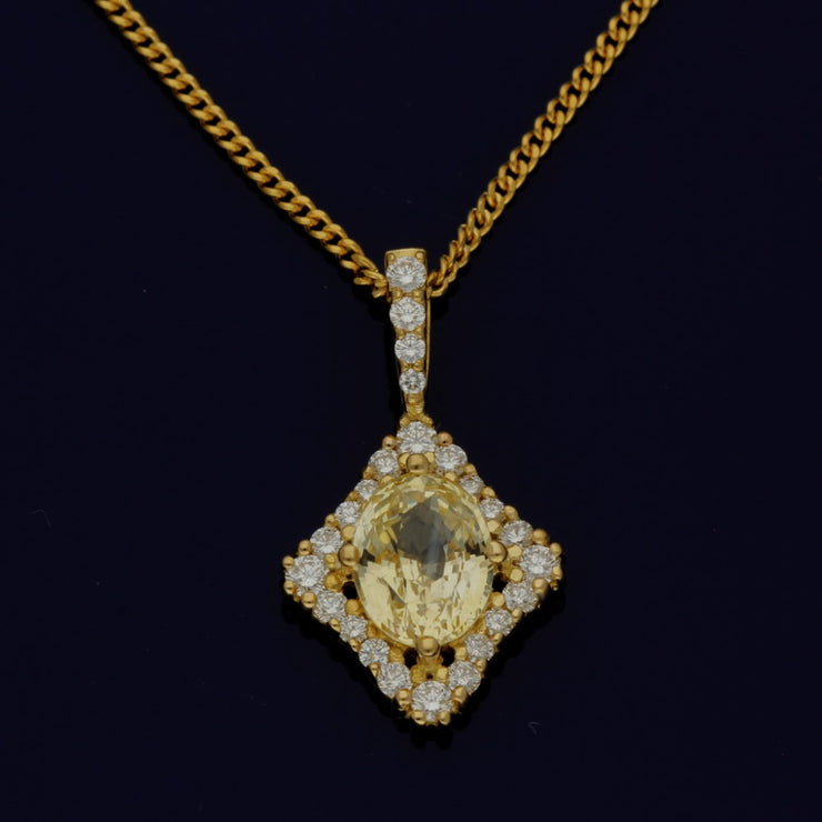 18ct Yellow Gold Natural Yellow Oval Sapphire Pendant with Diamond Halo Setting