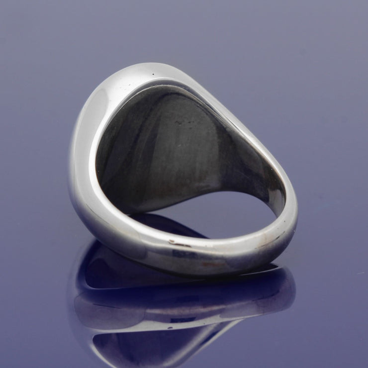 Silver Large Oval Cabachon Garnet 16 x 12mm Signet Ring