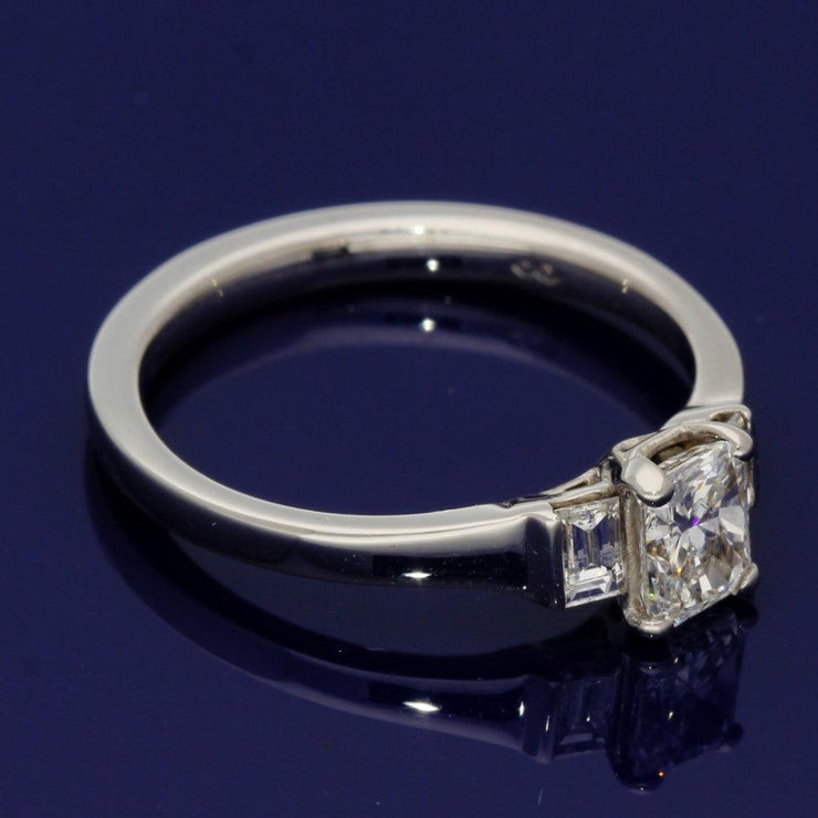 18ct White Gold Radiant and Baguette Cut Certificated Diamond Trilogy Ring