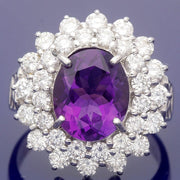18ct White Gold Amethyst and Diamond Large Cluster Ring