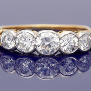 Antique 18ct Yellow Gold Old Cut Diamond 1ct Eternity Style Ring
