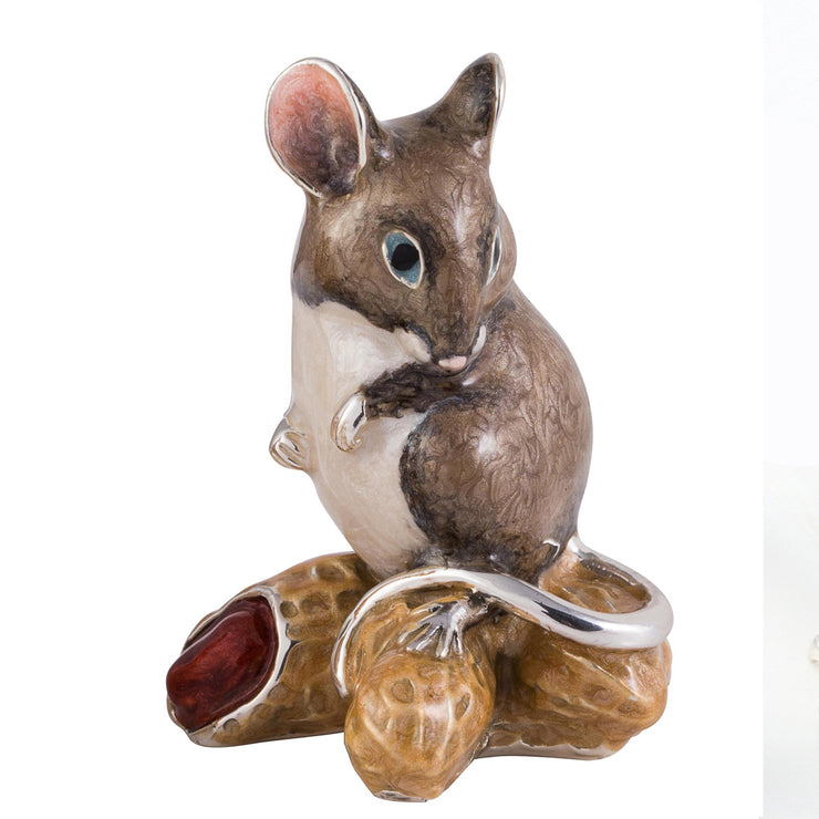 Silver and Enamel Mouse on Peanuts