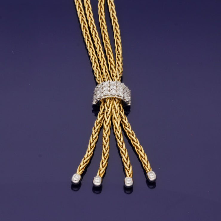 18ct Yellow Gold Double Row Chain with Diamond Tassel