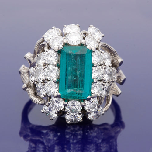Platinum Vintage Emerald and Diamond Cocktail Ring