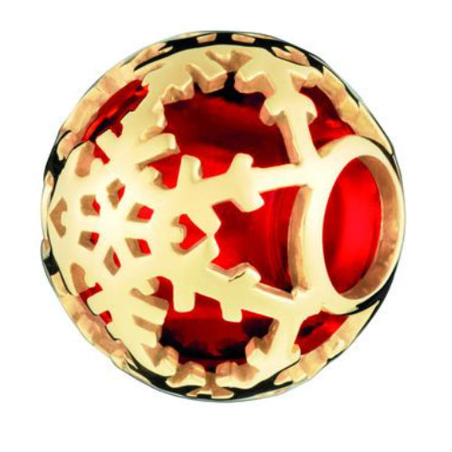 Links of London Play Bead – 18kt Yellow Gold Vemeil & Red Glass Snowflake Play Bead