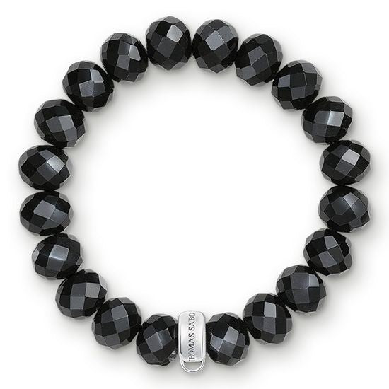Thomas Sabo Black Obsidian Beaded Charm Club Bracelet X0035-023-11