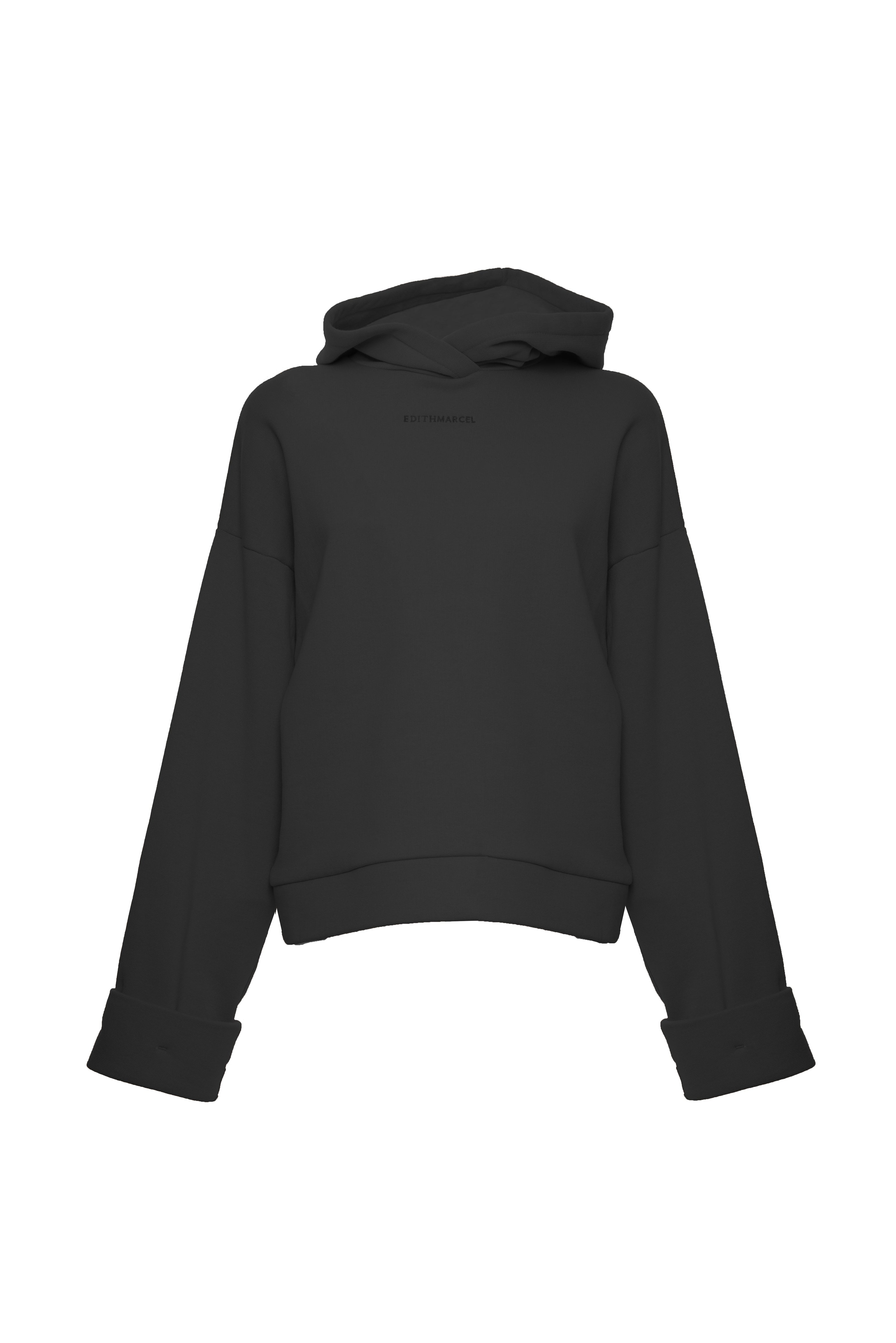 Hoodie with cuffed sleeves
