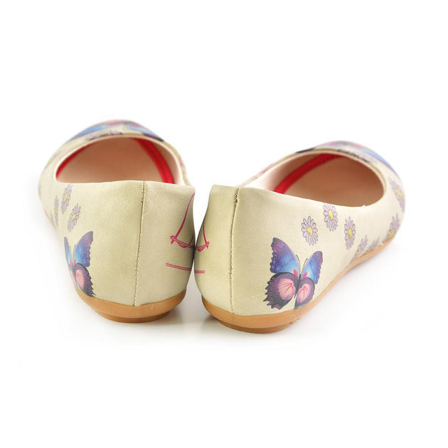 Goby 1028 Daisy and Butterfly Ballerinas Shoes Women Ballerinas Shoes - Goby Shoes UK