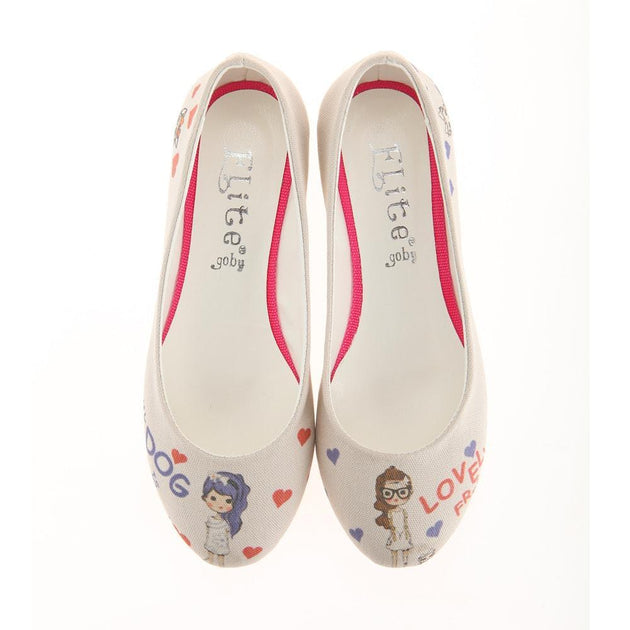 Cute Girls and Dogs Ballerinas Shoes 1111