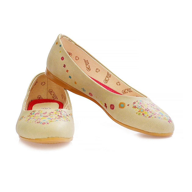 Flowers Heart Ballerinas Shoes 2032