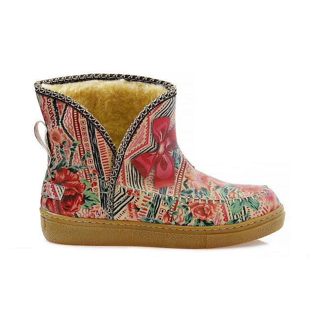 Red Flowers in Art Short Furry Boots ACAP101
