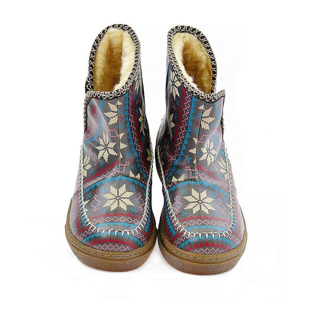 Dark Blue & White Stars & Red Short Furry Boots ACAP102 - Goby ALASKA Short Furry Boots