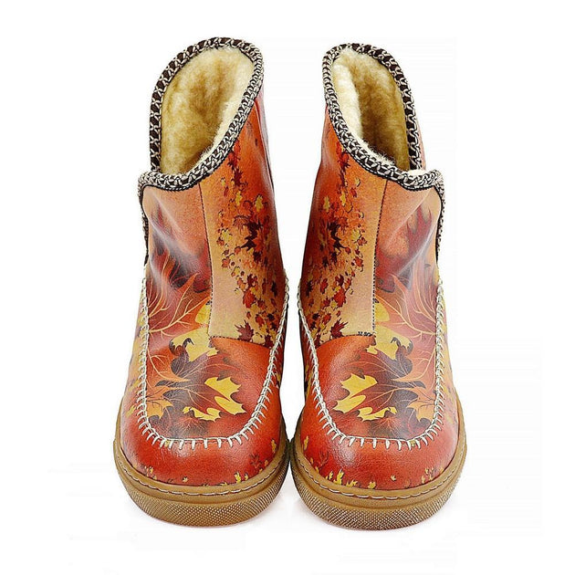 Autumn and Oaks Leaves Short Furry Boots ACAP105, Goby, ALASKA Short Furry Boots