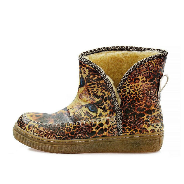 Lion and Blue Eyes Short Furry Boots ACAP109