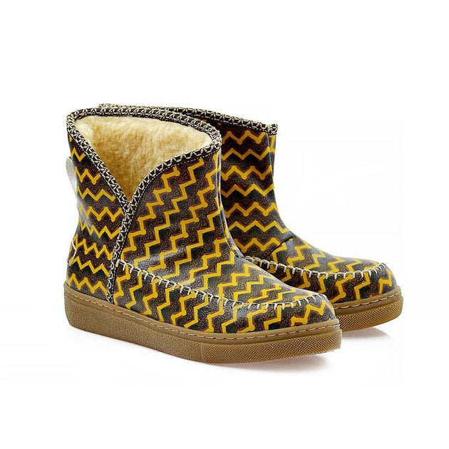 Brown & Yellow Zigzag Short Furry Boots ACAP111, Goby, ALASKA Short Furry Boots