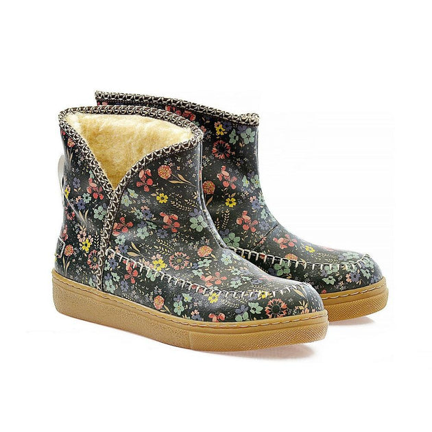 Colorful Small Flowers Short Furry Boots ACAP112 - Goby ALASKA Short Furry Boots